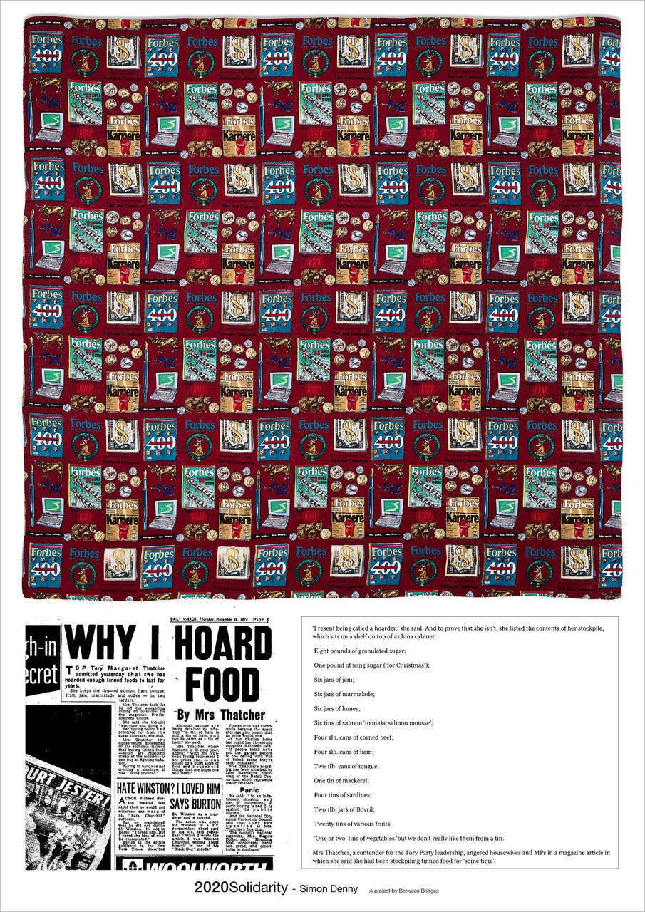 Simon Denny 'Margaret Thatcher Forbes silk scarf / Hoarding List' 2020 Offset print on paper 59,4 cm x 42 cm (23.4 x 16.5 in)