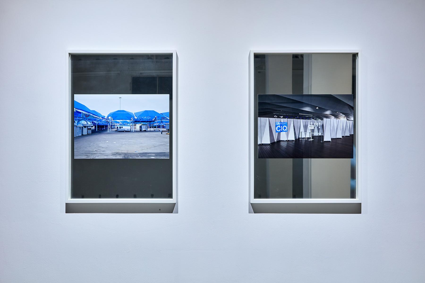 Andreas Fogarasi: Mirrors – State Fair of Texas, Dallas, 2013. C-Print on mirror | Mirrors –Yokohama Pier Port Terminal, Yokohama (Foreign Office Architects, 2002), 2013/2014. C-Print on mirror | photo: Dávid Biró