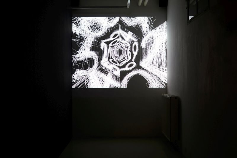 Gábor Palotai: ODYSSEUS, animated short film based on the graphic design novel by Gábor Palotai (exhibition view, photo: Miklós Surányi), 2018